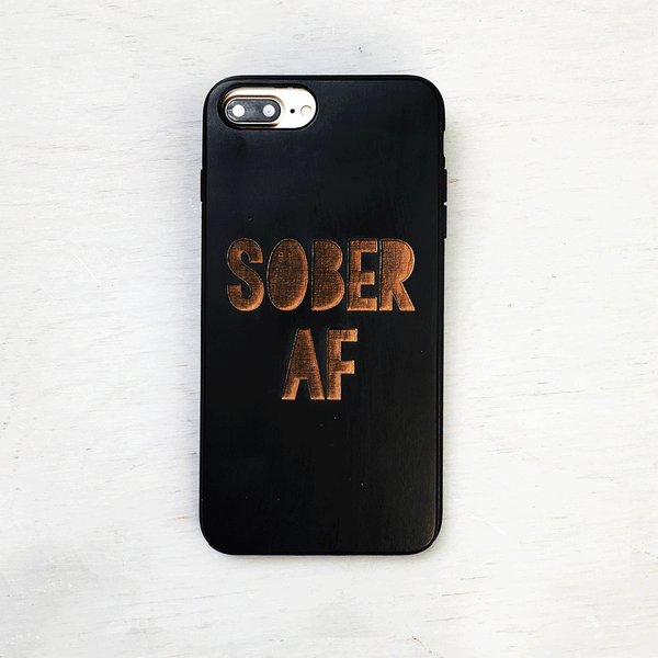 Sober AF Wood iPhone Case