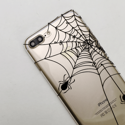 Spider Web Clear iPhone and Galaxy Phone Case