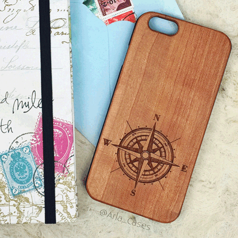 Compass Wood iPhone and Galaxy Phone Case