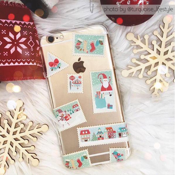 Vintage Christmas Stamps Phone Case - Clear TPU with Print