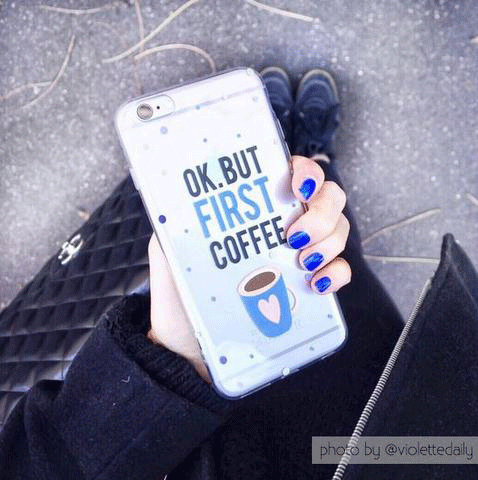 But First Coffee Clear iPhone and Galaxy Phone Case