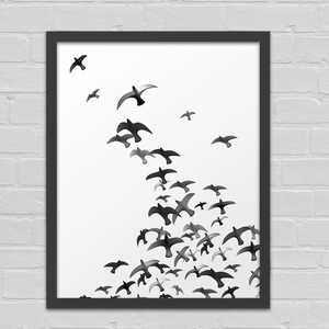 Black and White Watercolor Birds - Art Print