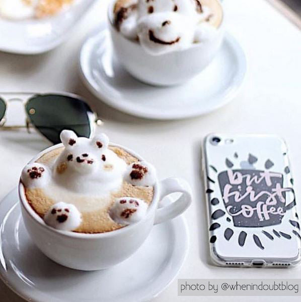 But First Coffee - Clear Phone Case with Coffee and Quote Design