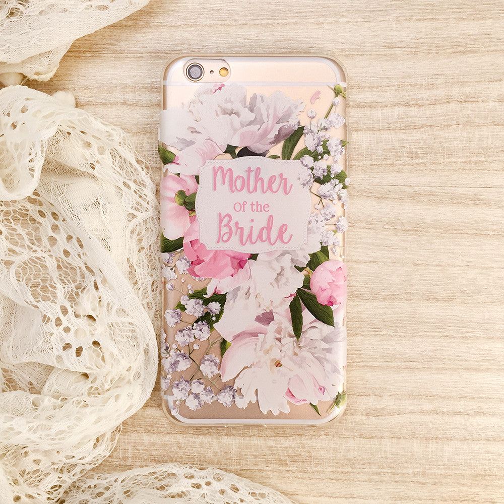 Mother of the Bride Peony Wedding Phone Case - Clear Printed TPU
