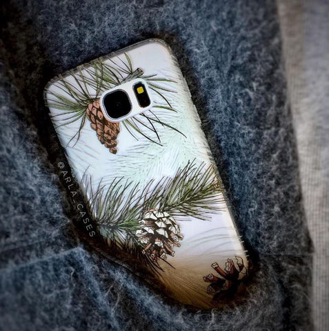 Winter Pine Tree Design - Clear TPU Phone Case Cover
