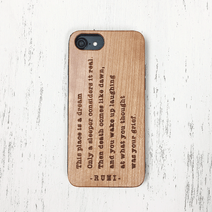 Rumi Quote Wood Phone Case