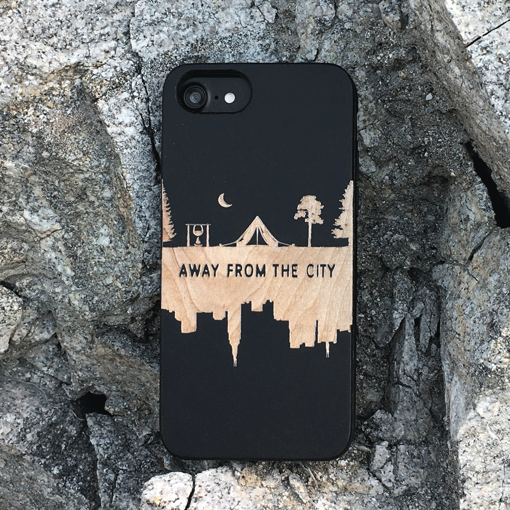 Away from the City Wood Phone Case
