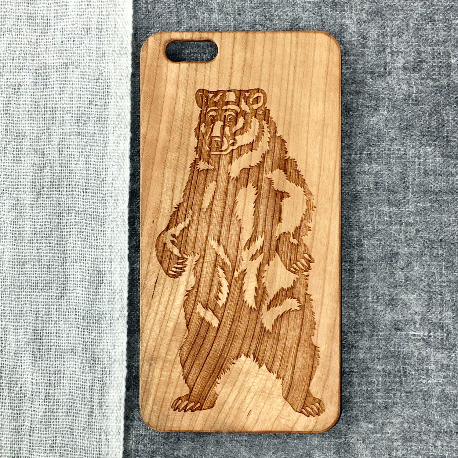 Standing Bear Wood Phone Case