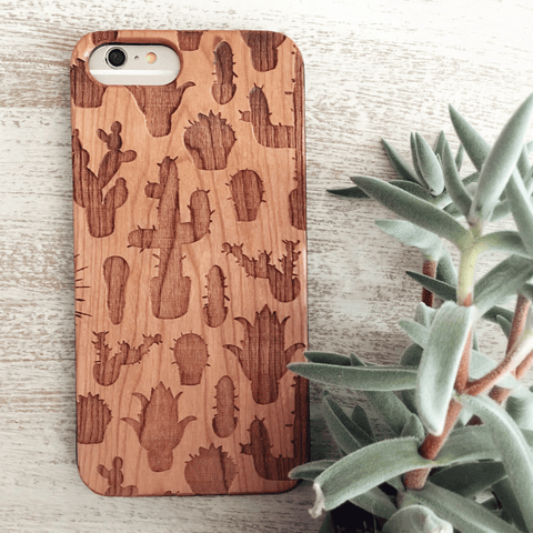 Cactus Silhouette - Wood Phone Case