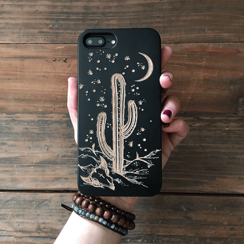 Desert Night Cactus Wood Phone Case