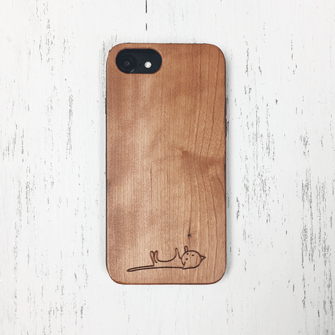 Little Kitty Lies Down - Wood Phone Case
