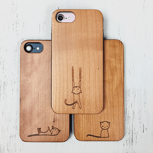 Little Kitty Sits-Wood Phone Case