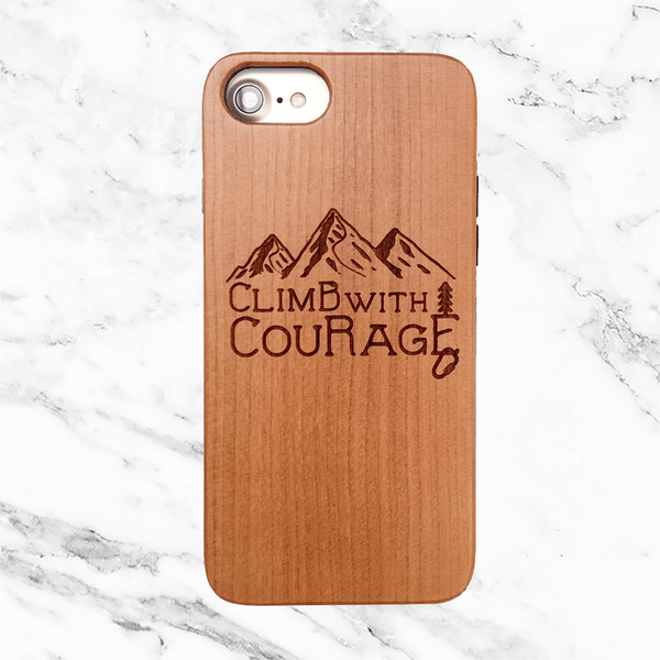 Climb with Courage Wood iPhone Case