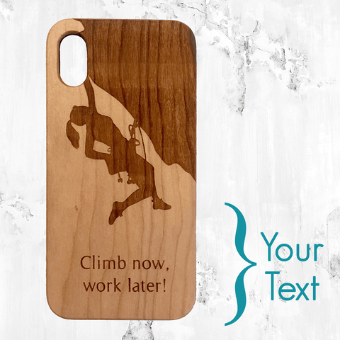 Custom Name - Rock Climbing Girl Wood Phone Case