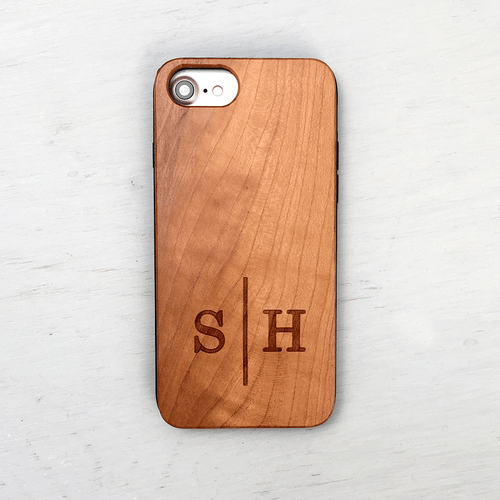 Custom Mongram Wood iPhone Case