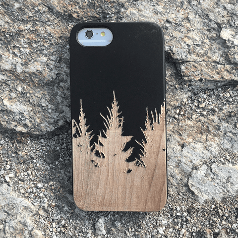 Forest Silhouette Wood Phone Case