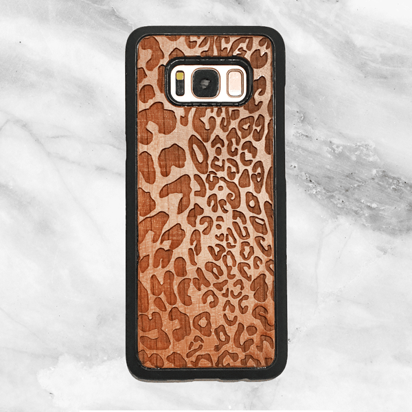 Leopard Print Wood Phone Case