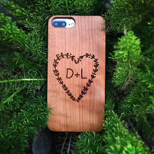 Custom Initials Heart Wood Phone Case