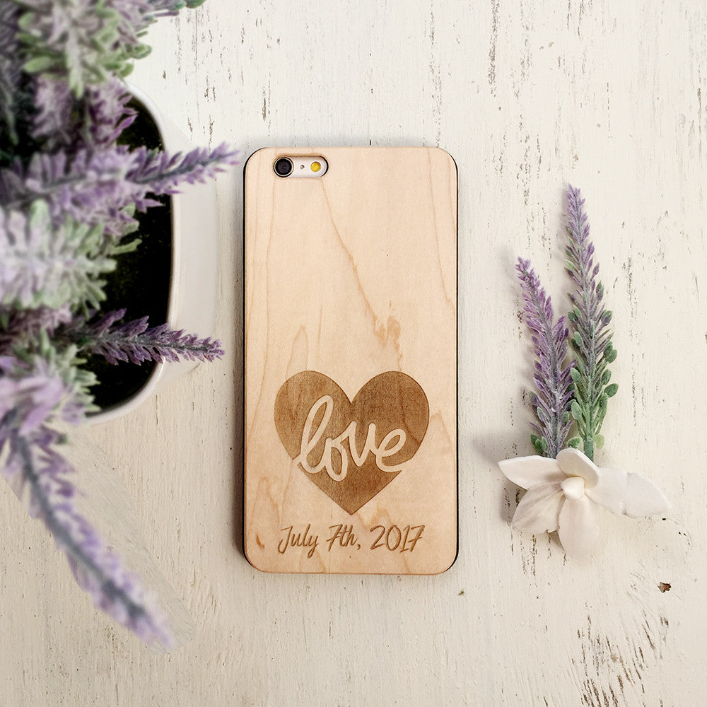 Custom Love Heart Date Wood Phone Case