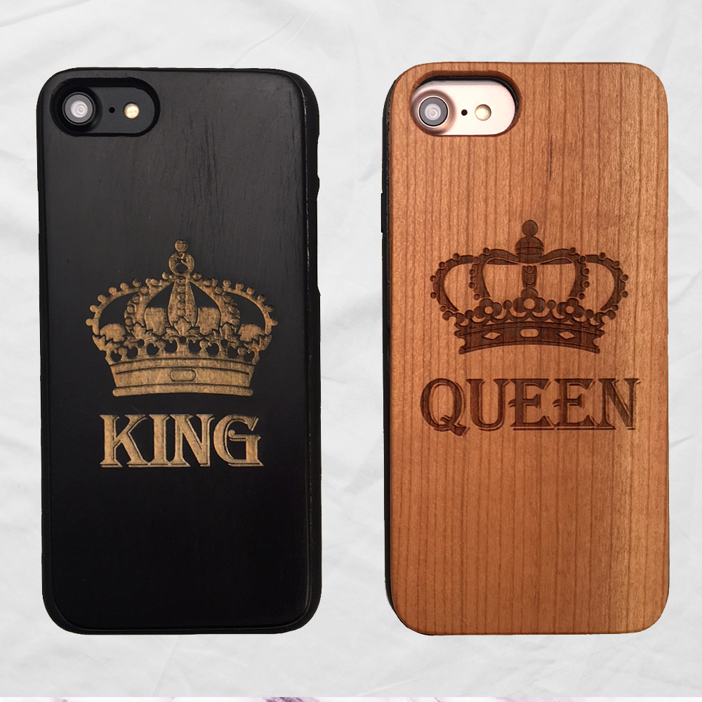 King and Queen Wood Phone Cases
