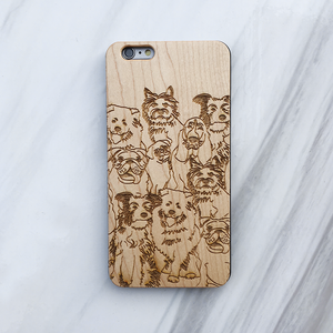 Dog Illustration Wood Phone Case