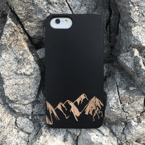 Mountains Engraved on Wood Phone Case