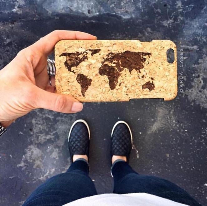 World Map Cork iPhone Case - Travel Theme Genuine Cork Case