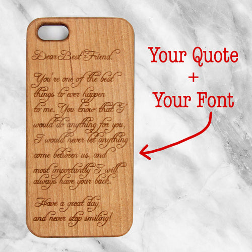 Custom Literary Quote an a Wood Case
