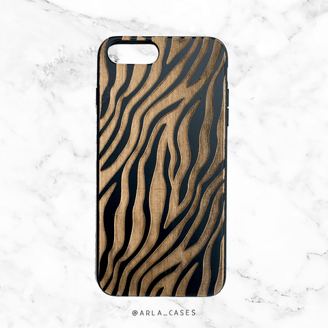 Zebra Black Wood Phone Case