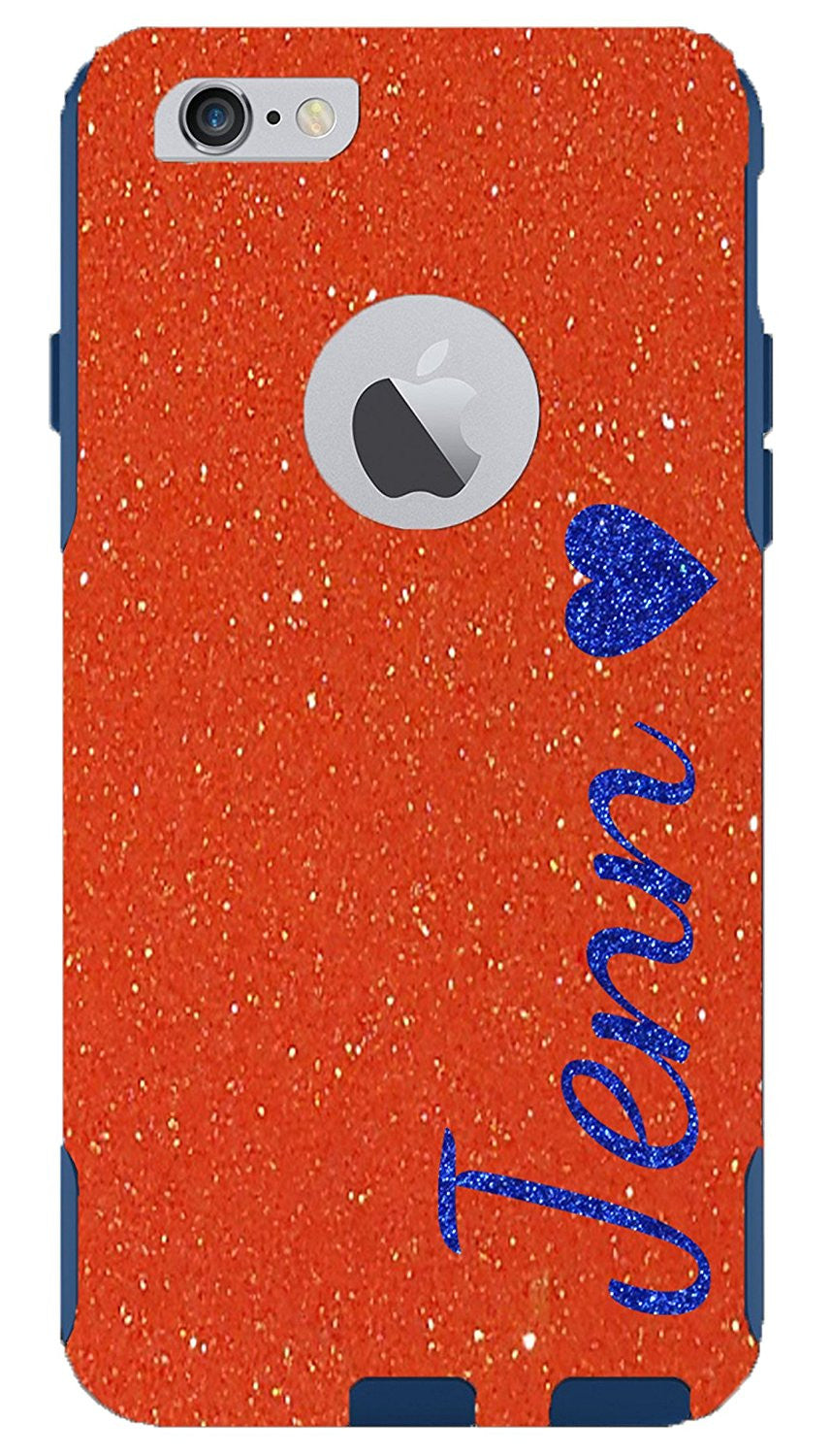 free shipping 948b1 cdec0 iPhone 6 6s Case - OtterBox Commuter Series Custom Glitter Case for iPhone  6s, Retail Packaging - Personalized Marine Name Neon Orange/Blue (4.7 inch)