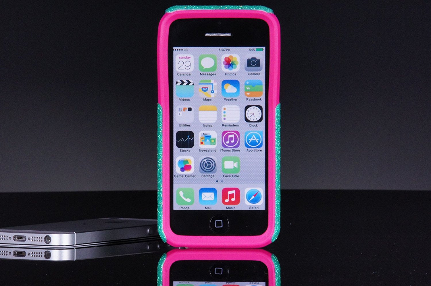 low priced 89f6b 0af61 iPhone 5c Case - OtterBox Commuter Series - Retail Packaging - Glitter  Smoke Chevron Wintermint/Pink