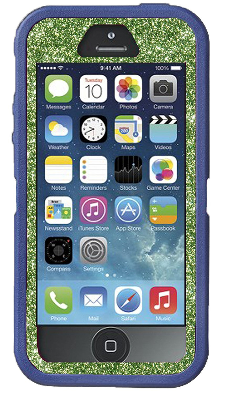 pretty nice c96d3 cc583 OtterBox Defender Series Case for iPhone 5s - Custom Glitter Case for  iPhone 5s - Dark Blue/Lime Green