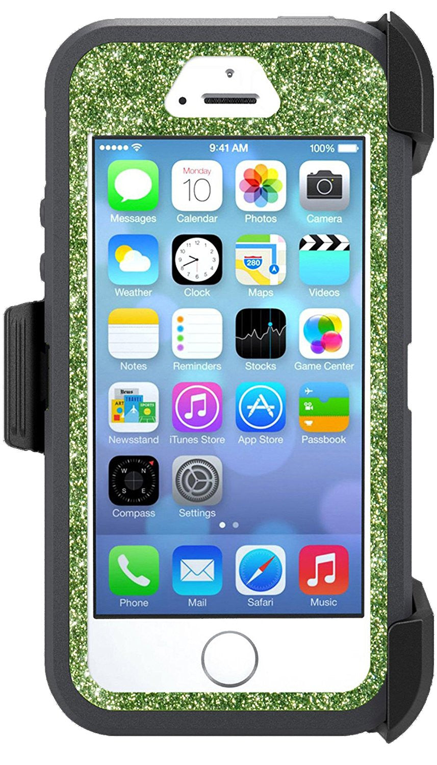 sale retailer 6fa2f 55b94 OtterBox Defender Series Case for iPhone 5s - Custom Glitter Case for  iPhone 5s - Dark Grey/Lime Green
