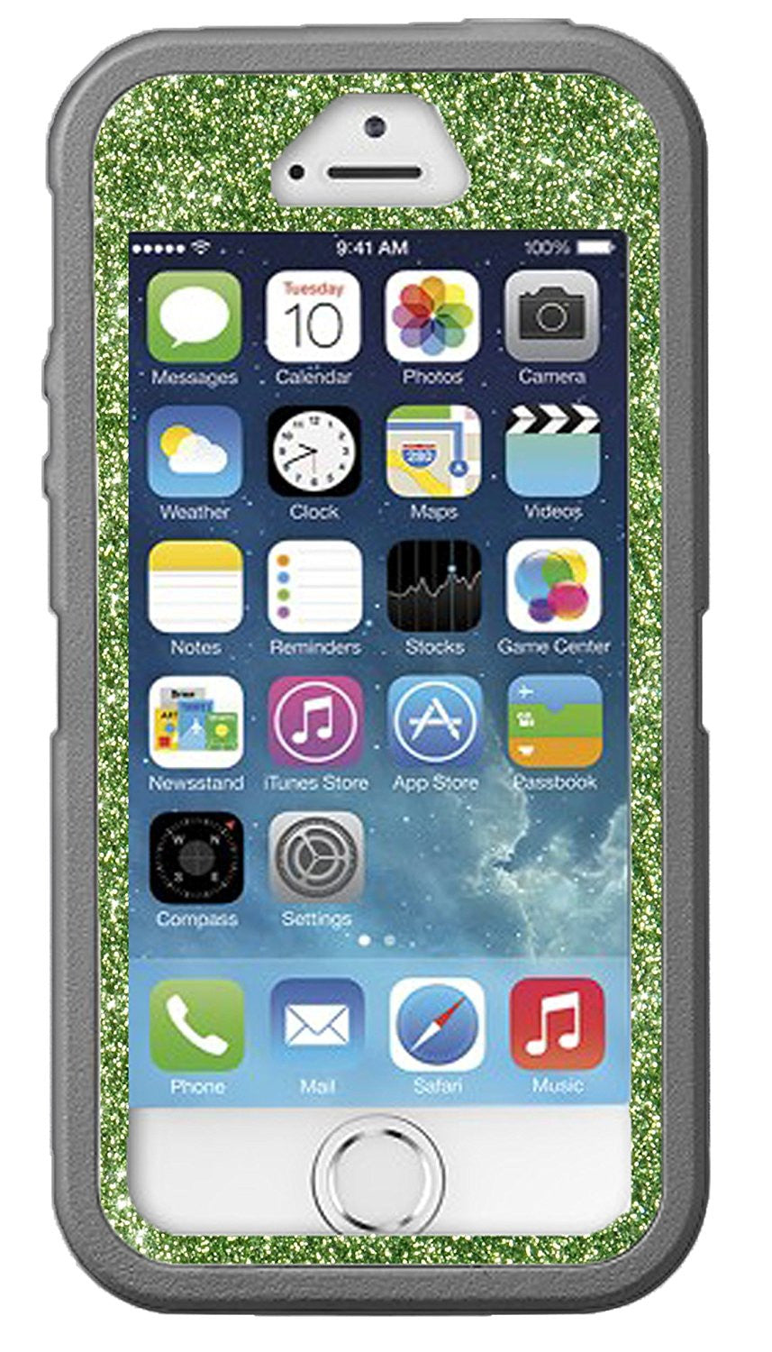 official photos c96c9 48dcc OtterBox Defender Series Case for iPhone 5s - Custom Glitter Case for  iPhone 5s - Light Grey/Lime Green