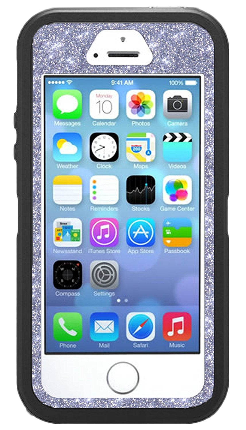 new product 94609 a2f88 OtterBox Defender Series Case for iPhone 5s - Custom Glitter Case for  iPhone 5s - Black/Silver