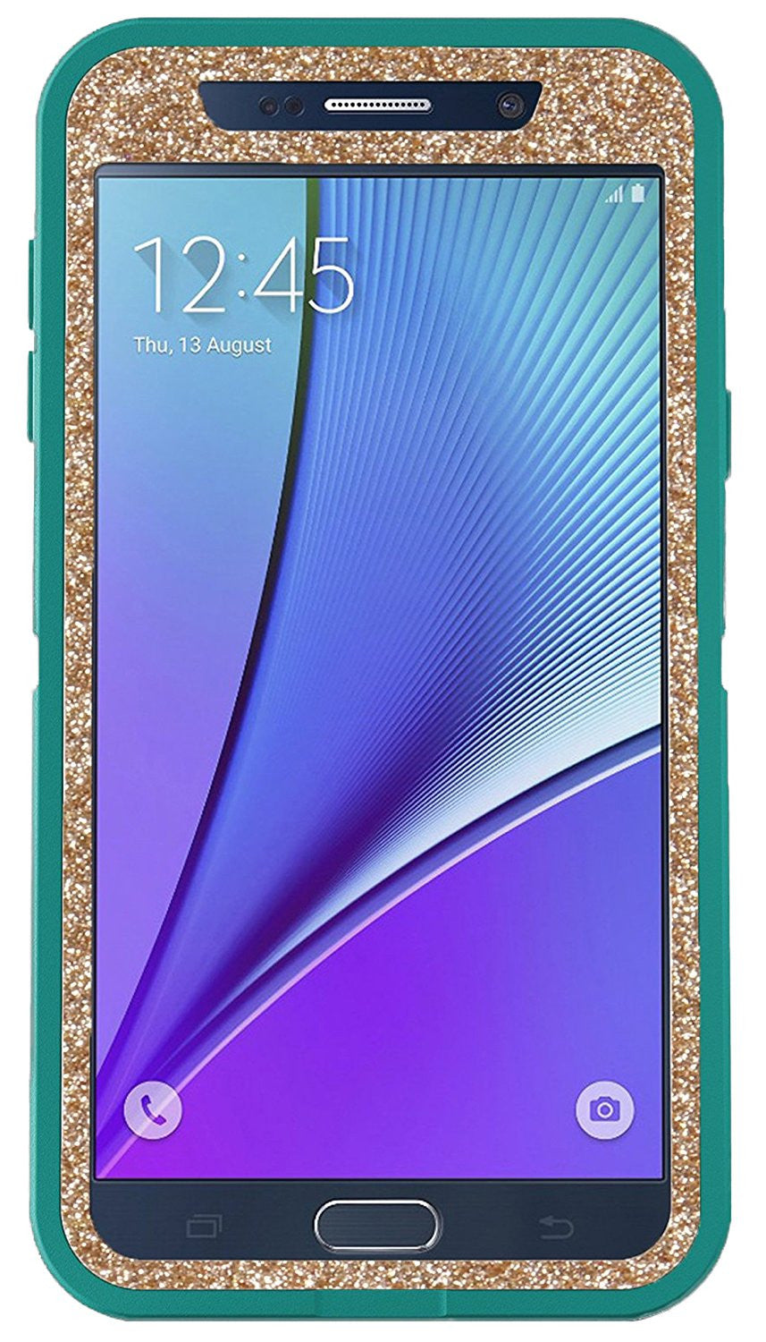 new concept 2b83d 03a84 OtterBox Samsung Galaxy Note 5 Custom Glitter Case Defender Series - Retail  Packaging - Teal/Gold
