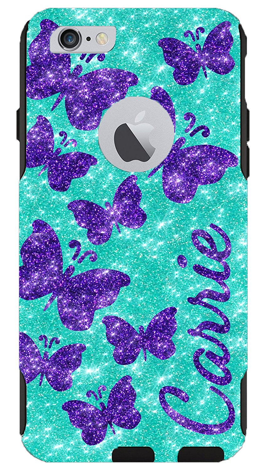 sports shoes b5ee6 85e46 iPhone 6 Plus 6s Plus Case - OtterBox Commuter Series Custom Glitter Case  for iPhone 6 Plus/6s Plus, Retail Packaging - Personalized Butterflies ...