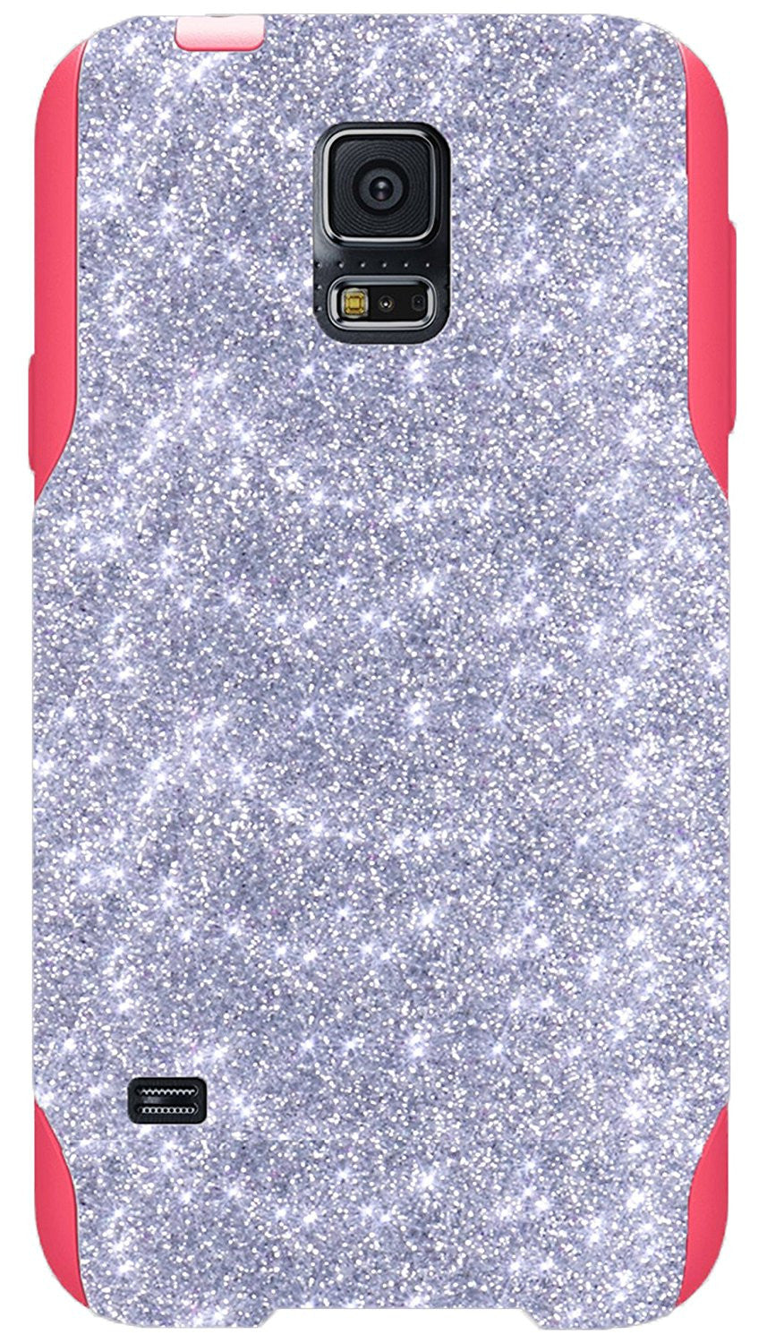 huge discount cc2b9 2ae35 OtterBox Commuter Series Case for Galaxy S5 - Custom Glitter Case for  Galaxy S5 - Silver/Pink