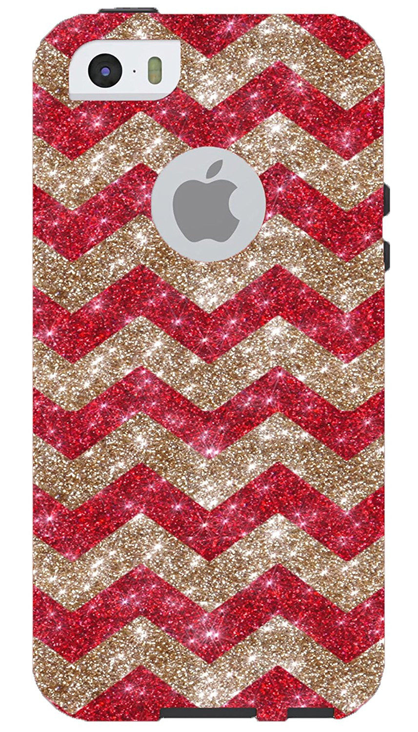 detailed look 6f2a3 4d940 iPhone 5S Case - OtterBox Commuter Series - Retail Packaging - Glitter Gold  Small Chevron Red/Dark Grey