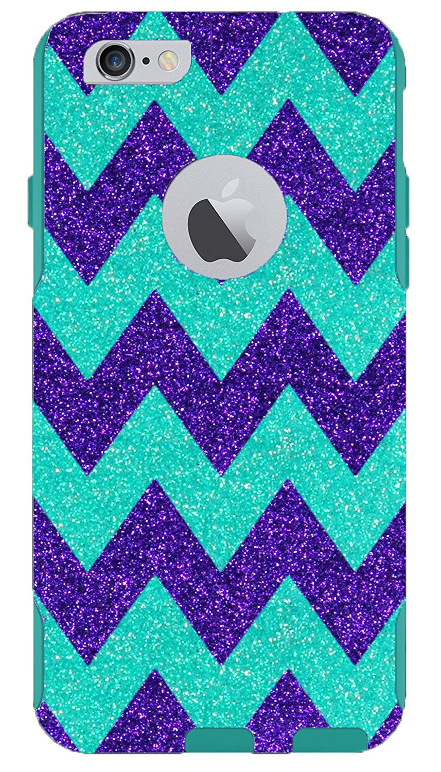 the latest 8b9fd 57d85 iPhone 6s Case - OtterBox Commuter Series - Retail Packaging - 4.7 iPhone  6/6s Glitter Large Wintermint Chevron Purple/Teal