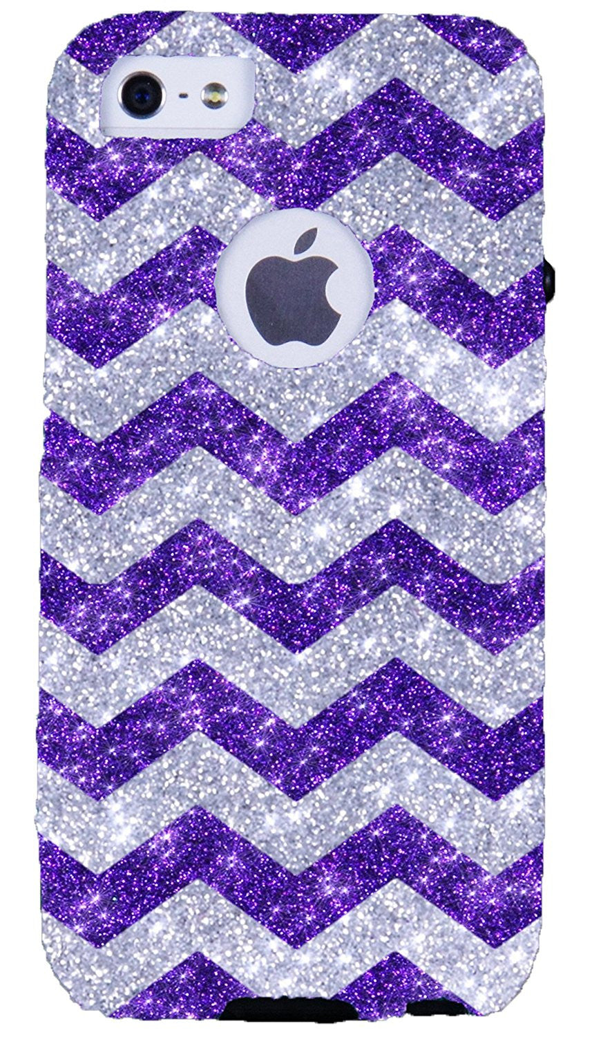 hot sale online 9fe5f bd560 iPhone 5S Case - OtterBox iPhone 5 Commuter Series - Retail Packaging -  Glitter Silver Small Chevron Purple/Black