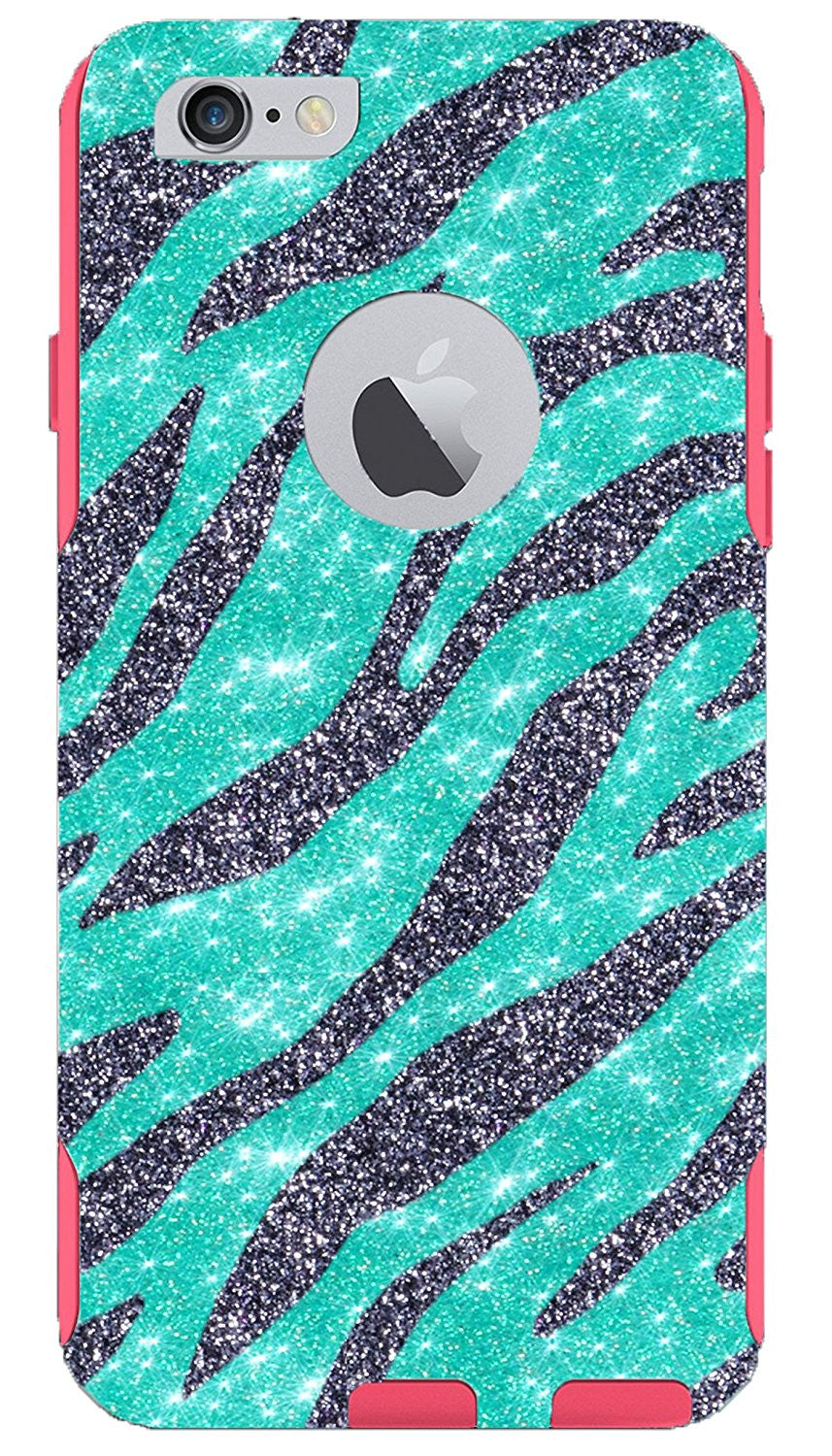 official photos 29d78 e772d 1WinR OtterBox Commuter Series Glitter Case for iPhone 6 Plus Retail  Packaging - Diagonal Zebra Smoke Print Wintermint/Pink