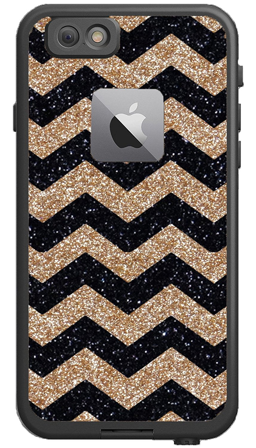 premium selection e9836 fbaae Lifeproof iPhone 6s Plus Case - Lifeproof Fre Series Custom Glitter Case  for iPhone 6 Plus, Retail Packaging - Black Small Chevron Gold/Black (5.5  ...