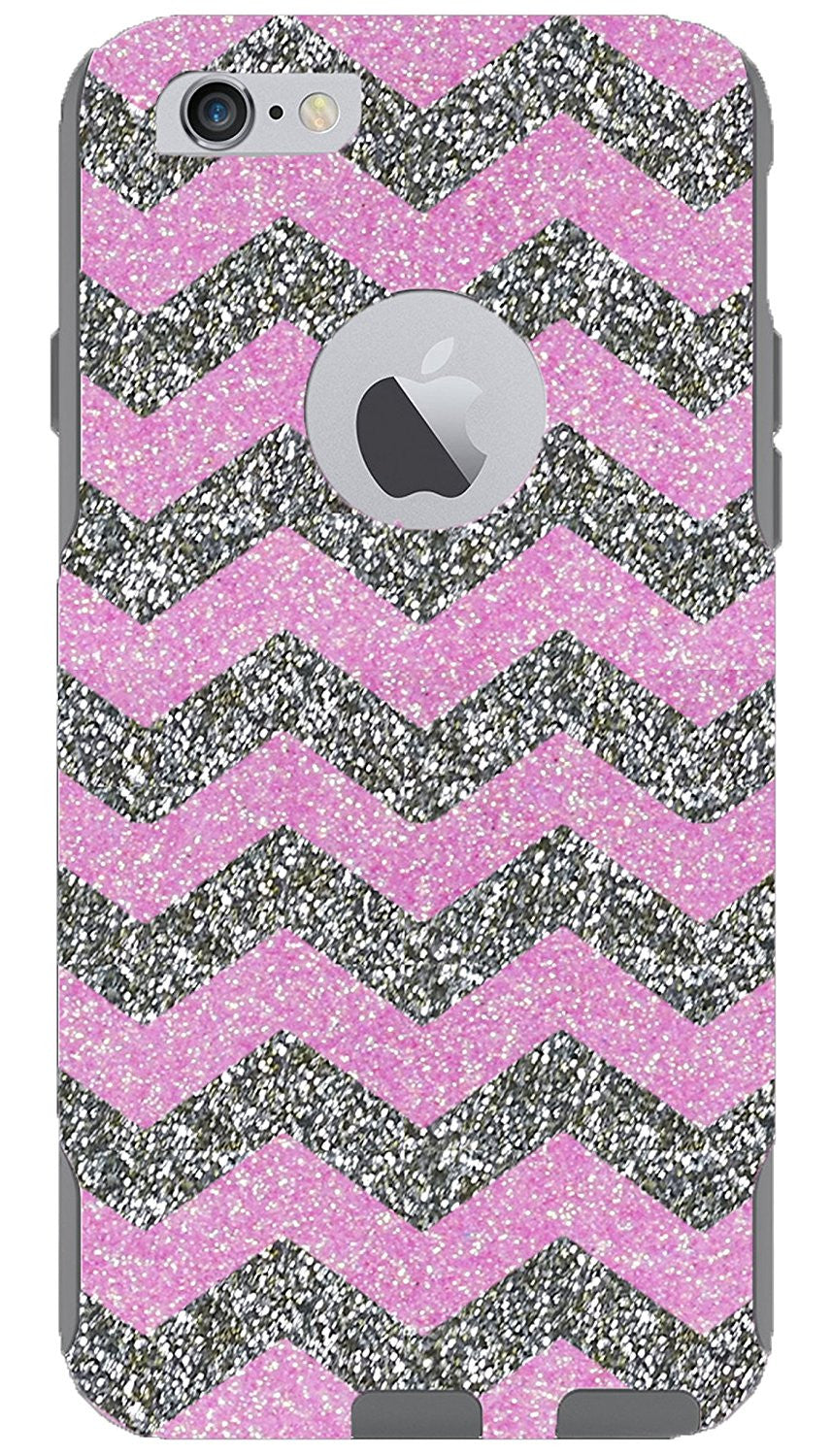 big sale b0b9c 80f76 OtterBox iPhone 6 Plus Case - OtterBox Commuter Series Custom Glitter Case  for iPhone 6 Plus, Retail Packaging - White Gold Small Chevron Light ...