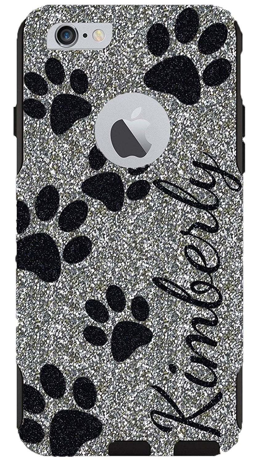 9d44fcc5fda iPhone 6 Plus 6s Plus Case - OtterBox Commuter Series Custom Glitter Case  for iPhone 6 Plus/6s Plus, Retail Packaging - Personalized Paws Black Name  White ...