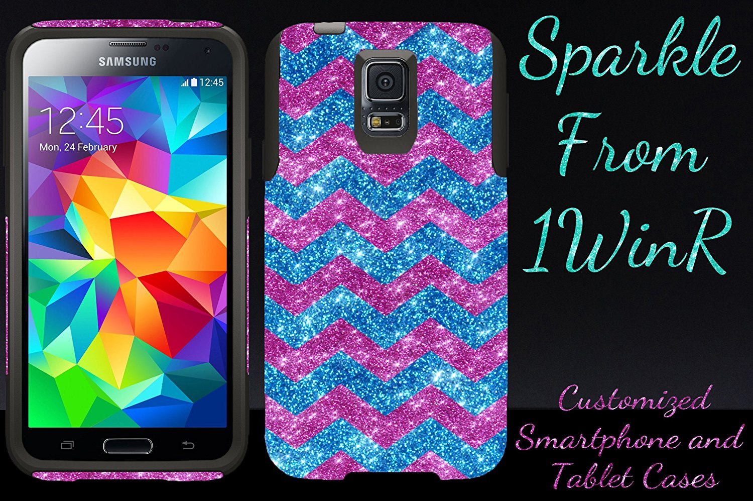 detailed look 8a913 d715f OtterBox Commuter Series Case for Galaxy S5 - Custom Glitter Case for  Galaxy S5 - Peacock Small Chevron Raspberry/Black