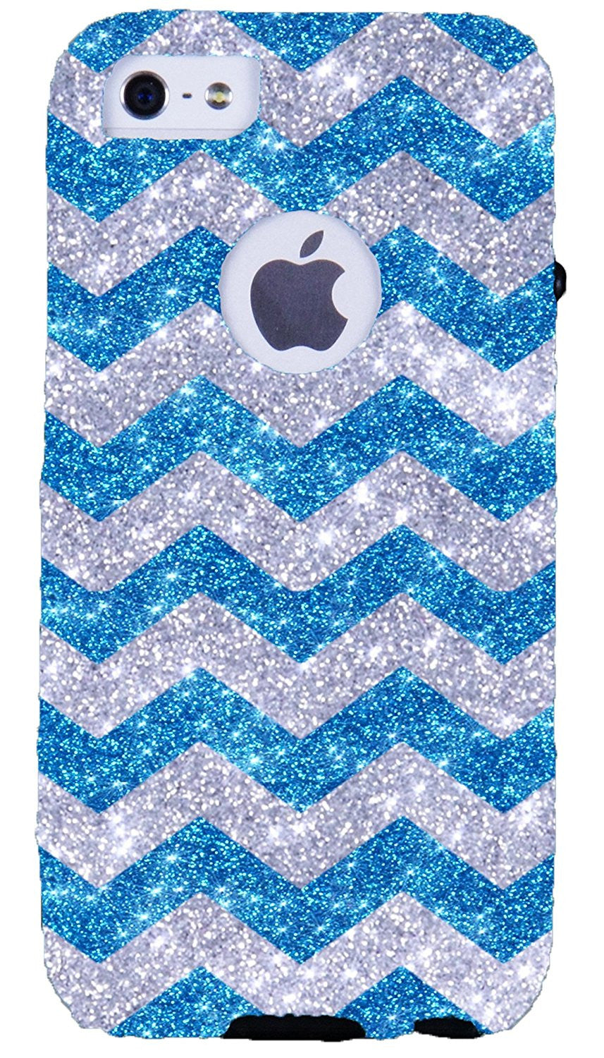 huge discount 2279a adc41 iPhone 5S Case - OtterBox iPhone 5 Commuter Series - Retail Packaging -  Glitter Silver Small Chevron Peacock/Black