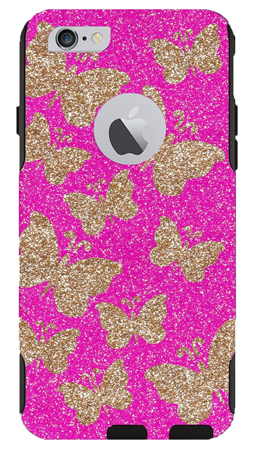 sports shoes 00b7b 59fbd iPhone 6 Plus 6s Plus Case - OtterBox Commuter Series Custom Glitter Case  for iPhone 6 Plus/6s Plus, Retail Packaging - Gold Butterflies Hot ...