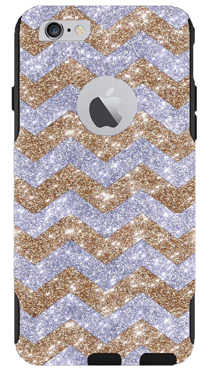 OtterBox iPhone 6 Plus Case - OtterBox Commuter Series Custom Glitter Case  for iPhone 6 Plus, Retail Packaging - Gold Small Chevron Silver/Black (5 5