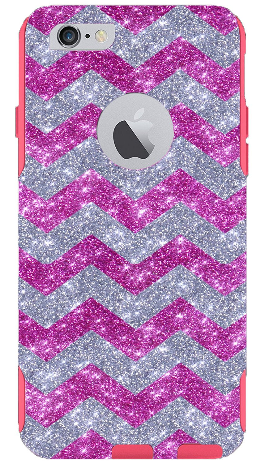 purchase cheap 7c871 f157a OtterBox iPhone 6 Plus Case - OtterBox Commuter Series Custom Glitter Case  for iPhone 6 Plus, Retail Packaging - Silver Small Chevron Raspberry/Pink  ...